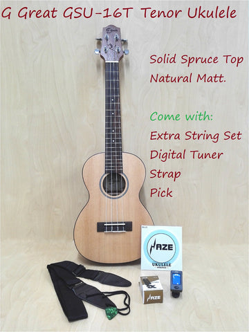 G Great GSU-16T Solid Spruce Top Tenor Ukulele,Natural Matt+Strap,Clip-on Tuner