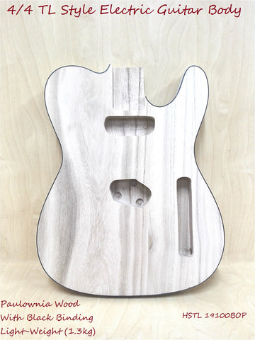 Paulownia Electric Guitar Body w/Black Binding,Pre-Drilled/Polished HSTL 19100BOP