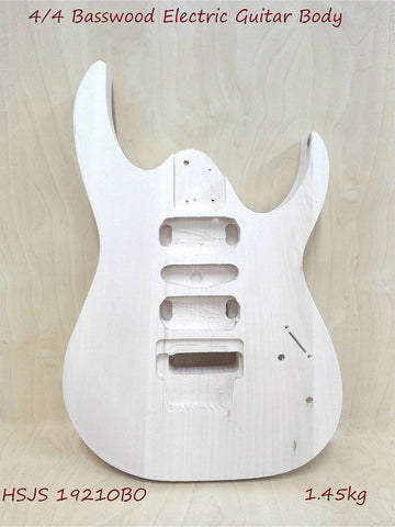 Solid Basswood Electric Guitar Body, Pre-Drilled & Polished- HSJS 19210BO