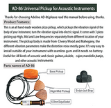 Brand New Adeline AD-86 Wooden 3-Way Piezo Pickups for All Acoustic Instruments
