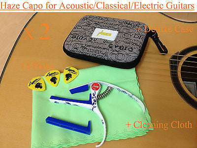 2xHaze Top Grade Zinc Alloy Acoustic/Classical Guitar Capo,Ceramic Paint+3 Picks