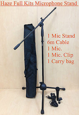 MS-1 Adjustable Telescopic Boom Microphone Stand w/6m Cabel,Mic,Clip,Carry bag