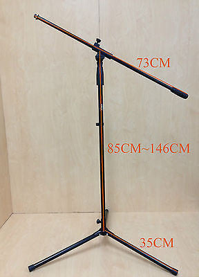 Haze MS080 Height Adjustable & Foldable Metal Microphone Stand, Black, Tripod