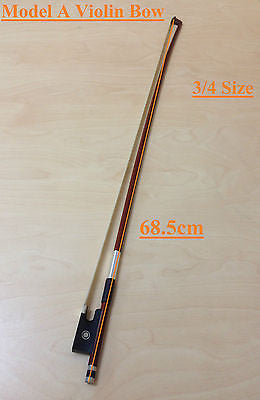Caraya Model A Brazilwood Violin Bow 3/4 Size - Real Horse Hair,Ebony Frog