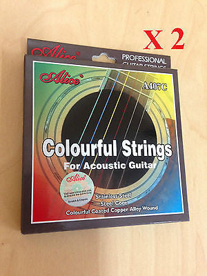 2 x Alice A407C Colorful Acoustic Guitar Strings- Multi-Colored Steel String Set