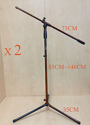 2 x Haze MS080 Height Adjustable & Foldable Metal Microphone Stand,Black,Tripod