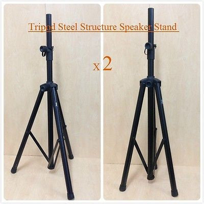 2 x Height Adjustable Haze SS005 Steel Structure DJ Speaker Stand,Tripod,Black