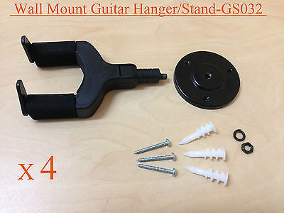 4 x Haze GS032 Wall Mount Guitar Hanger/Stand, Auto Grip, Short Arm, Metal Base