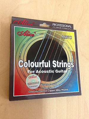 Alice A407C Colorful Acoustic Guitar Strings - Multi-Colored Steel String Set
