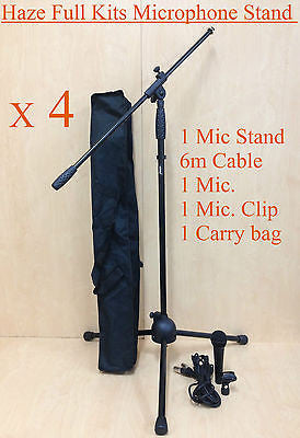 4 X MS-1 Adjustable Telescopic Boom Microphone Stand,6m Cabel,Mic,Clip,Carry bag