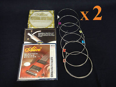 Two (x2) Alice AE530 X-Super Light Electric Guitar String Set. 0.008~0.038 inch