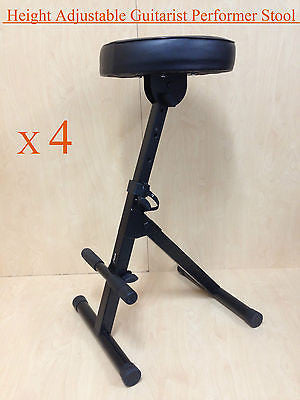 4(Four) Haze KB009 Height Adjustable Guitarist Performer Stool/Chair w/Foot Rest