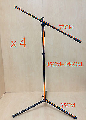 4 x Haze MS080 Height Adjustable & Foldable Metal Microphone Stand,Black,Tripod