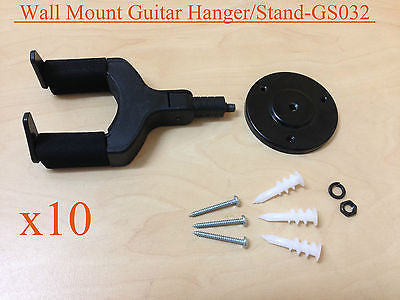 10 x Haze GS032 Wall Mount Guitar Hanger/Stand, Auto Grip, Short Arm, Metal Base
