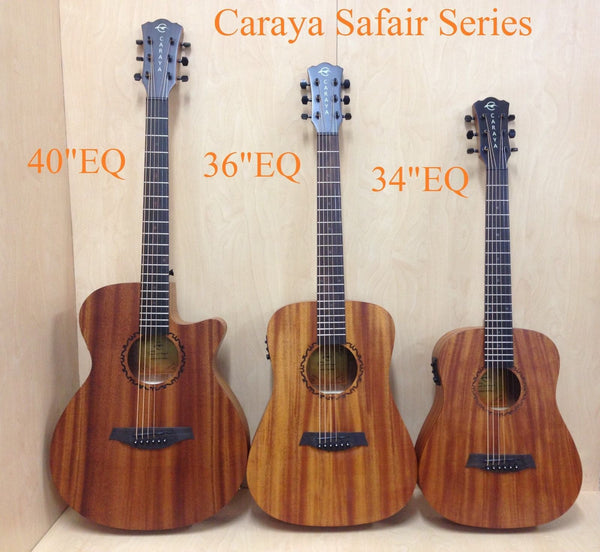 "Caraya 34"" All Mahogany Traveler Acoustic Guitar w/Built-in EQ,Tuner+Free Bag"