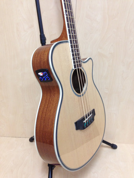 3/4 Size Haze FB-711BCEQ/N 4-String Electric-Acoustic Bass Guitar Natural + Free Gig Bag