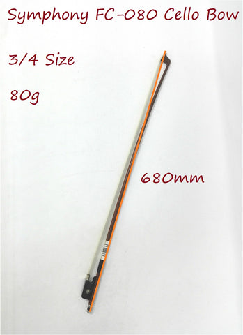 Symphony FC-080 3/4 Size Cello Bow–Brazil-wood, Round Stick, Real Horse Hair