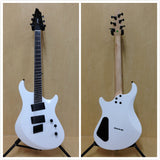 Haze 6FF WHT Fanned-Fret 6-String Electric Guitar,White +Free Gig Bag