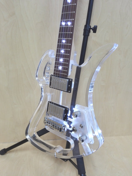 Haze Hollow-Carved Clear Acrylic See-Thru Electric Guitar w/LED Lights - DKE-601