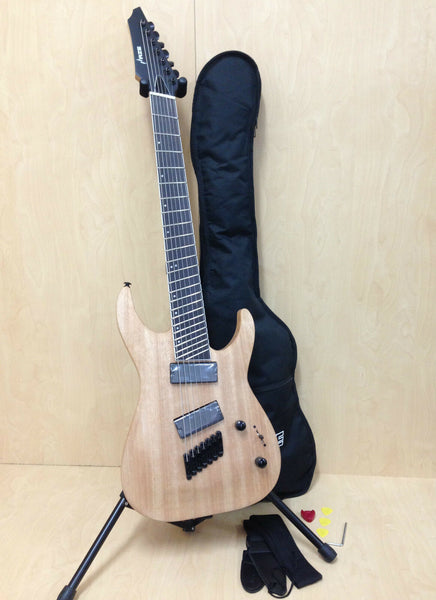 4/4 Haze-7 Fanned Frets 7-String Electric Guitar,Natural Oil+ Free Gig Bag,Strap