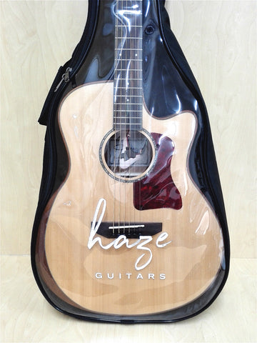 "4/4 Haze Clear Top Acoustic Guitar Gig Bag,Waterproof,Black/Clear |ABD 42""B1