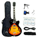Haze 272 VS Semi-Hollow Body Electric Guitar,Vintage Sunburst+Free Gig Bag,Picks