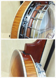 Haze 009A 5-string Resonator Banjo,Clear Top,Flame Maple w/Tone Ring+Hard Case