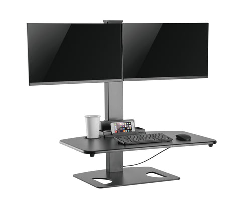Dual Display Height Adjustable Stands Desk with LCD Mount or Clamp DWS03-T02BK black