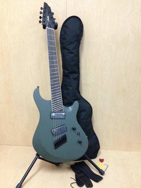 Haze-7 MGS Fanned Frets 7-String Electric Guitar,Military Green+ Free Gig Bag