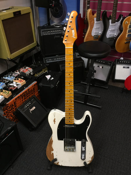 Haze Relic TL Electric Guitar with Alder Body,Maple Neck,White+Free Bag