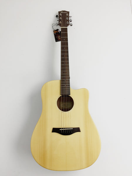 "CLEARANCE SALE 41"" SOLID TOP BEGINNER ACOUSTIC GUITAR,Gloss Natural, Cutaway+Free Gig Bag,Picks,Picks Holder,Extra set strings,Tuner."