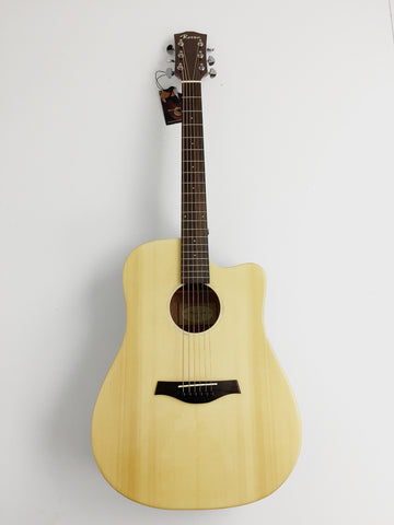 "CLEARANCE SALE 41"" SOLID TOP BEGINNER ACOUSTIC GUITAR,Gloss Natural, Cutaway+Free Gig Bag"