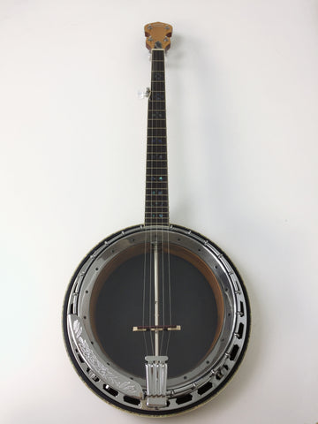 Caraya 5-string Resonator Banjo,Clear Top,Flame Maple w/Tone Ring+Hard Case