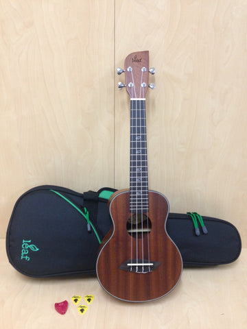 Leaf Series C100 All-Mahogany Concert Ukulele,Satin+10mm Padded Gig Bag(Green)
