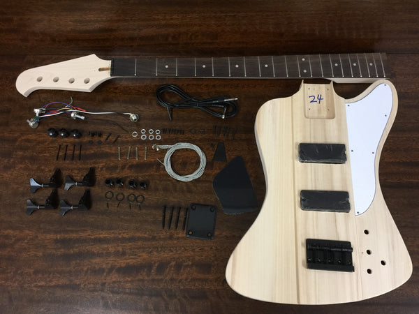 HSTB 1910 Solid Basswood Body Electric Bass Guitar DIY Kit,Tuner,3 picks,No-Soldering,H-H