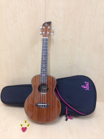 Leaf Series L200 All-Mahogany Tenor Ukulele,Gloss+10mm Padded Gig Bag(Deep Pink)