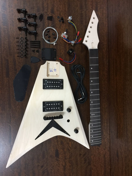 HSFV 1950BH Solid Basswood Body Flying V Style Electric Guitar DIY Kit,No-Soldering,H-H