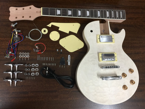 LP Solid Mahogany Body Electric Guitar DIY, No-Soldering, Quilted maple top,H-H|HSLPM 19380BQ|