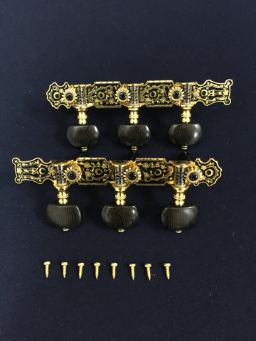 Classical Guitar Tuning Pegs Machine Head Gold/Black|AO-020HV3P|