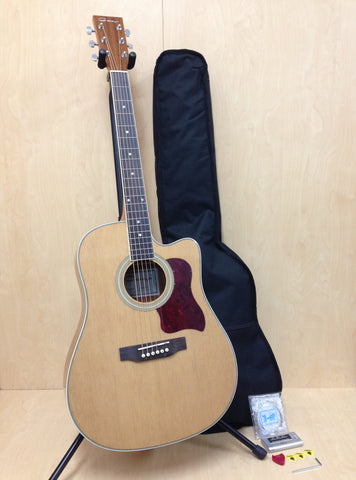 Dreadnought Acoustic Guitar,Natural w/Cutaway+Free Gig Bag,Picks,Picks Holder,Extra set strings,Tuner.