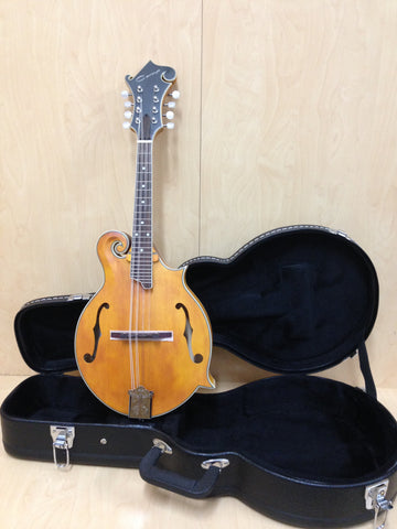 Caraya SMA-938 F-Style,Solid Spruce+Flame Maple Mandolin w/F Holes +Lockable Hard Case