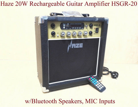 Haze 20W Rechargeable Guitar Amplifier w/Bluetooth Speakers, MIC Inputs HSGR-20