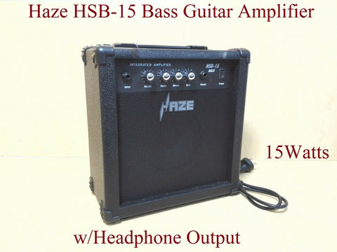 Haze HSB-15 15Watt Electric/Acoustic Bass Guitar Amplifier,BK w/Headphone Output