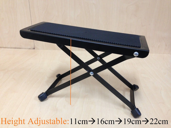 Haze GS017 4-Way Height Adjustable Guitar Foot Rest / Footstool, Black