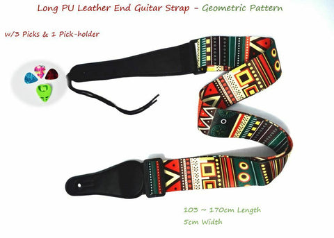 "Long PU Leather End Guitar Strap,Length Adjustable 103~170cm ""Geometric Pattern"""