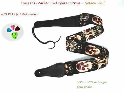 "Long PU Leather End Guitar Strap, Length Adjustable 103~170cm, ""Golden Skull"""
