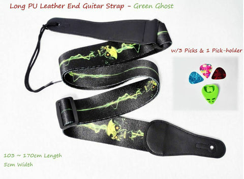 Long PU Leather End Guitar Strap, Length Adjustable 103~170cm, Green Ghost