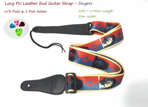 "Long PU Leather End Guitar Strap, Length Adjustable 103~170cm, ""Singers"""