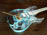 HSE-019P Haze Clear Acrylic See-Thru Electric Guitar,Flody Rose Bridge/Nut,LED Lights+Bag
