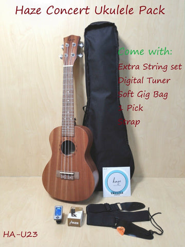 Haze HA-U23 All-Mahogany Concert Ukulele +Free Gig Bag,Extra Strings,Pick,Strap,Tuner